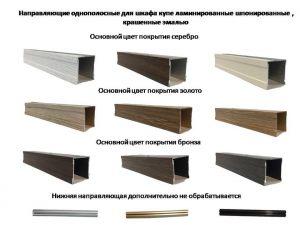 Направляющие однопосные для шкафа купе ламинированные, шпонированные, крашенные эмалью Абакан