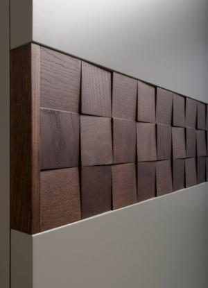 Вставка в двери с накладными квадратами шпон Абакан